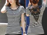 2015夏季外贸条纹半袖女t恤 镂空女式上衣韩版修身短袖T恤衫1