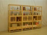 實木書架置物架老榆木展示柜博古架 免漆書柜新中式禪意