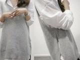 初秋韩版中长款套头毛线无袖宽松V领针织毛衣背心马甲女爆