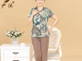 中老年女装夏装短袖长裤套装中老年人妈妈装婆婆装两件套装77857