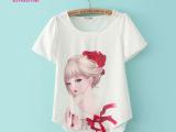 雪纺衫短袖T恤2014夏装甜美新款女装百搭美女印花欧洲站韩国上衣