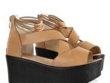 2013夏季新款真皮厚底坡跟鱼嘴凉鞋 高