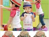 儿童帽子韩国潮 童帽 宝宝天然麻料贴标男童女童太阳帽 爵士礼帽