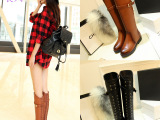 莨凤秋冬新款高筒真皮女靴子 欧美低跟圆头皮带扣长靴 低跟骑士靴