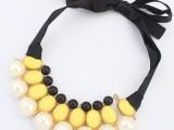 工厂直销 欧美百搭明星优雅珍珠绸带项链 欧美大牌项链 CN958