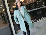 2015新款女装暖松石绿中长款双排扣双面羊绒大衣女风衣女一件代发