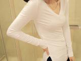 春秋季女装新款 韩版百搭服装 T恤打底衫批发 V领侧开叉长袖
