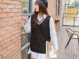 19068韩国东大门代购实拍女装批发宽松显瘦学院风V领针织棉背心