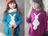 秋冬款韩版儿童加厚卫衣 女童中长款兔尾巴抓绒卫衣 童装一件代发