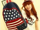韩版时尚国旗中学生书包铆钉双肩包女包帆布双肩背包韩国书包