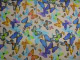 供应2015年新款3D欧根纱印花  彩色蝴蝶图案3D欧根纱印花