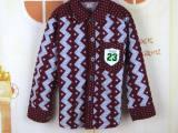 2015春款童衬衫男童衬衫长袖中大童半纯涤 棉条纹字母韩版新款潮