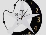 卡通卧室客厅挂钟儿童房静音钟个性创意星星月亮时钟6036