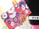 罗尔曼欧美时尚印花牛皮钱夹女士钱包真皮女式钱包女长款卡包手包
