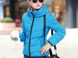 冬季新款女装纯色翻领棉衣 中长款休闲宽松棉服外套