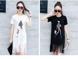 韩版流苏女装短袖连衣裙,纯棉面料可选款,批11.8块