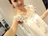 2014韩版质感水溶花朵蕾丝一字肩露肩白色娃娃裙 连衣裙