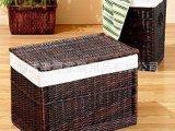 柳编衣物收纳箱 大容量深色带盖脏衣篮 纯植物手工编织 环保大气