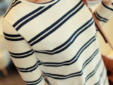 代理加盟2015春款外贸大码女装纯棉打底衫条纹长袖t恤女厂家批发