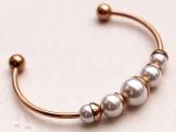 2014新款来自星星的你同款珍珠开口玫瑰金手镯女韩版时尚钛钢饰品