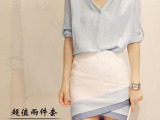 韩版女装 夏装新款气质包臀裙 全棉中袖V领上衣两件套连衣裙女