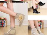 魔术贴内增高显瘦欧美外贸原单大码高帮休闲运动女鞋拉长腿型平底