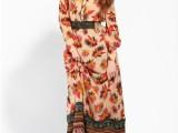 2013春夏专柜款欧美拼接圆领系腰波西米亚风印花连衣裙送腰带18