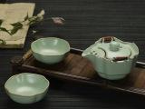 正品汝窑开片快客杯一壶二两杯旅行功夫茶具便携陶瓷办公茶具礼品