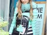 品牌折扣女装欧美时尚女式大毛领羽绒服一手货源尾货批发