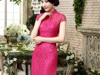 2015新款日常旗袍蕾丝长款旗袍裙新娘敬酒服宴会表演礼服一件代发