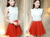 2014夏季新款 韩版女装荷叶边无袖蕾丝上衣+红色短裙两件套套裙