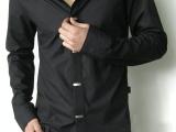 2014春季新品翻领大码衬衫休闲修身时尚衬衫男士纯色简约长袖衬衫