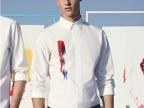 2014春装新品 欧美复古衬衫 D-homme 14 s/s 红蓝涂鸦印花衬衫