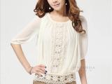 2013夏装新款春款蕾丝上衣 甜美打底衫雪纺衫衬衫女