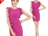 红模一线品牌韩国女装夏季新款荷叶边无袖背心雪纺连衣裙微信代理