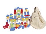 外贸原单英国ELC积木100块有收纳布袋儿童木制积木玩具