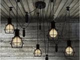 美式乡村创意客厅餐厅酒吧台升降滑轮复古工业小铁笼吊灯店铺装饰