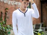 贝笛克男式V领长袖T恤衫2014秋冬新款韩版时尚修身男士纯色T恤