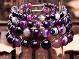 新款韩版饰品 天珠缠丝玛瑙手链 紫色条纹玛瑙手饰半宝石手链批发