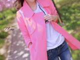 2014秋装新款菁菁猫咪刺绣双排扣翻领中长款嫩粉色宽松外套风衣