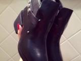 14克罗*秋冬新款牛皮尖头粗跟短靴 时尚高端裸靴女靴子一件代发