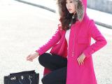 毛呢外套女2014冬装新款韩版连帽斗篷型中长款呢子大衣女