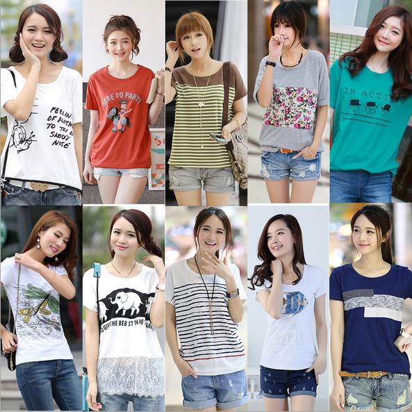 夏季时尚新款韩版宽松女装印花t恤短袖百搭上衣 厂家直销