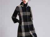 欧美高端大气呢子女装2104冬季新款格纹西装领中长款毛呢外套