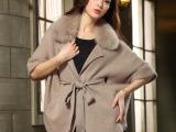 女生红色貂绒大衣毛领爆款包邮新款外套女装风衣羊绒大衣蝙蝠衫