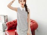 韩国订单夏装韩版海军风条纹无袖连衣裙中长款T恤女
