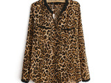 2014春季大码女装新款 个性欧美时尚V领豹纹复古显瘦长袖衬衫
