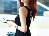 2014新款韩国代购夏季网纱拼接露背无袖背心连衣裙 雪纺长裙