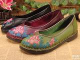 广州女鞋批发现货外贸真皮个性复古手工缝制休闲民族风女鞋贴牌