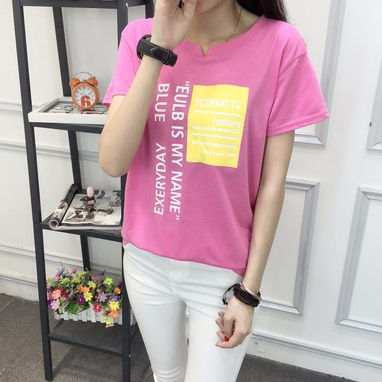 直销批發夏装新款大码宽松小V领T恤女学生卡通镂空短袖衫上衣